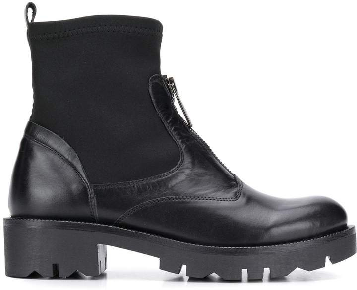 zip-front ankle boots
