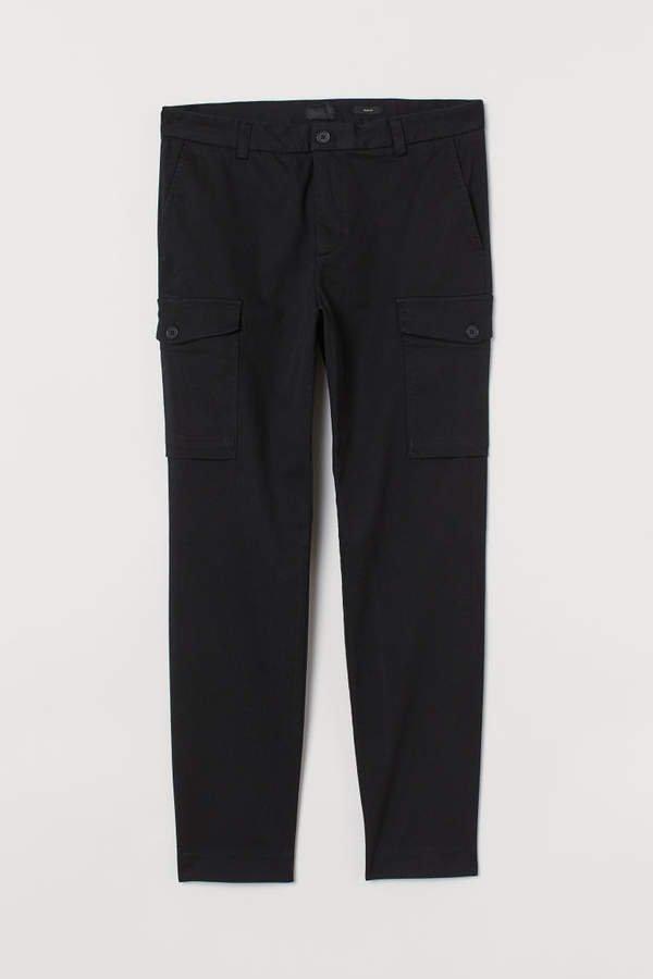 Slim Fit Cargo Pants - Black