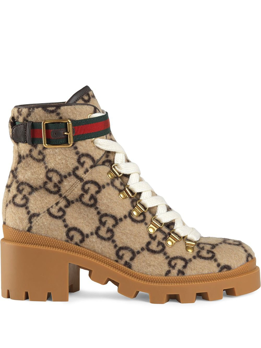 Neutral Gucci Gg Wool Ankle Boot   Farfetch.com