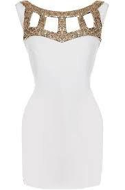 Gladiator Armor Dress | White Gold Sequin Bodycon Dresses | RicketyRack.com