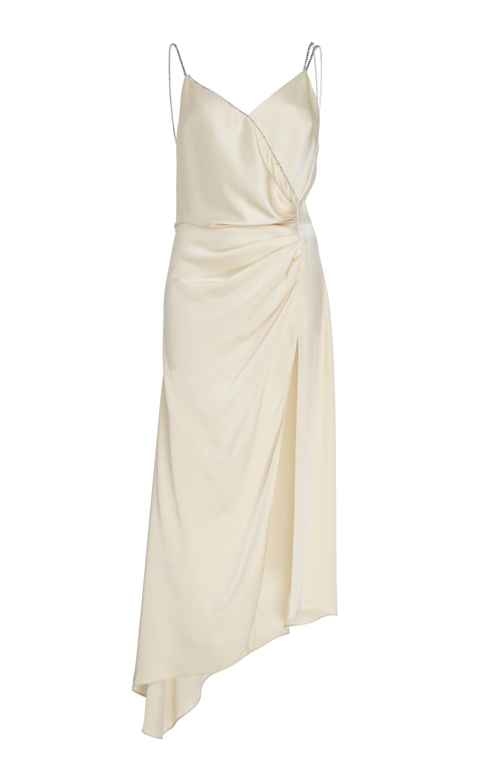 David Koma Asymmetrical Ruched Silk Dress