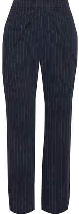 Side-split Pinstriped Woven Straight-leg Pants