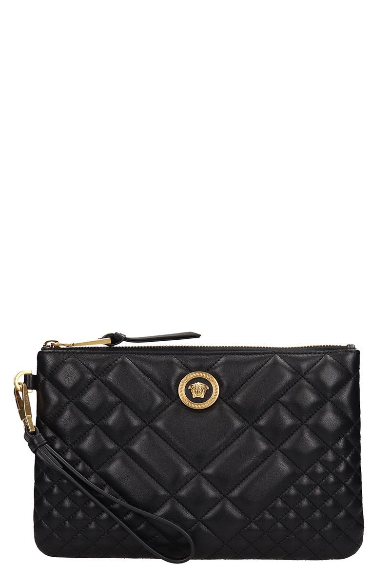 Versace Black Quilted Leather Clutch Bag