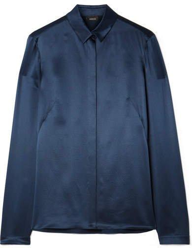Silk-satin Shirt - Navy