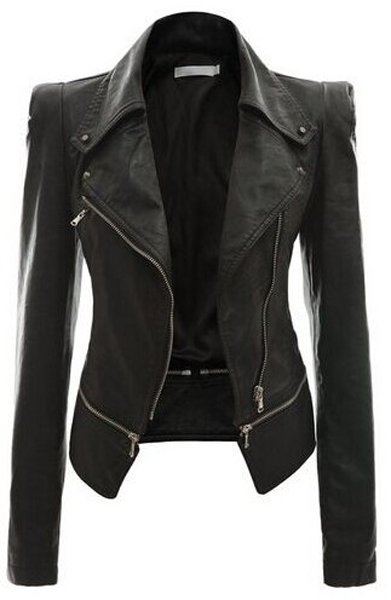 New Fashion Women Faux Leather Jackets Long Sleeve Lady Slim Short Bomber Coat Motorcycle Outerwear on Luulla