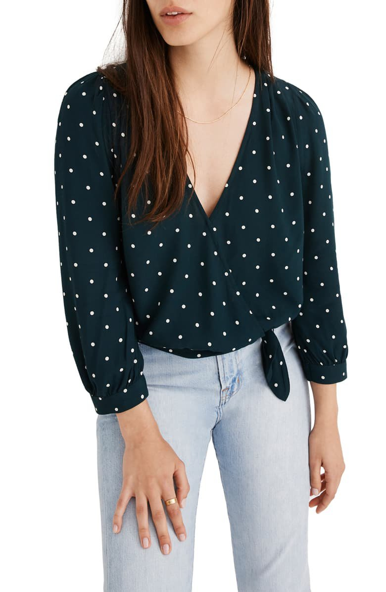 Madewell Dot Wrap Top | Nordstrom