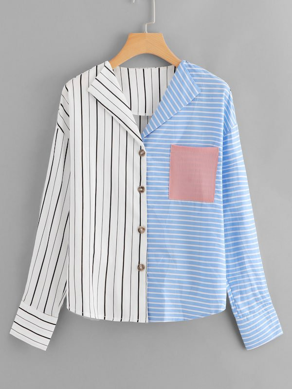 Chest Pocket Two Tone Striped Blouse | SHEIN