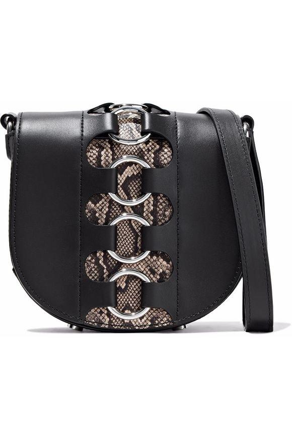 Ring-embellished snake effect-paneled leather shoulder bag | ALEXANDER WANG | Sale up to 70% off | THE OUTNET