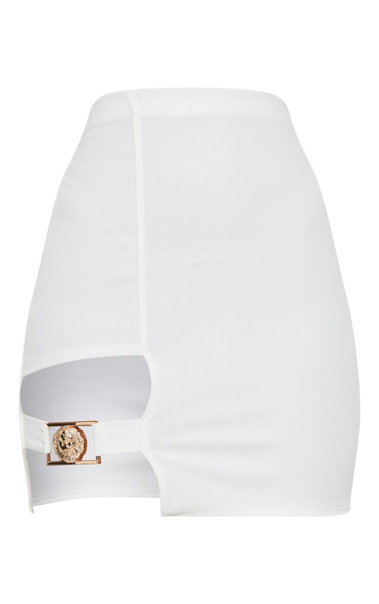 White Lion Head Buckle Detail Mini Skirt   PrettyLittleThing