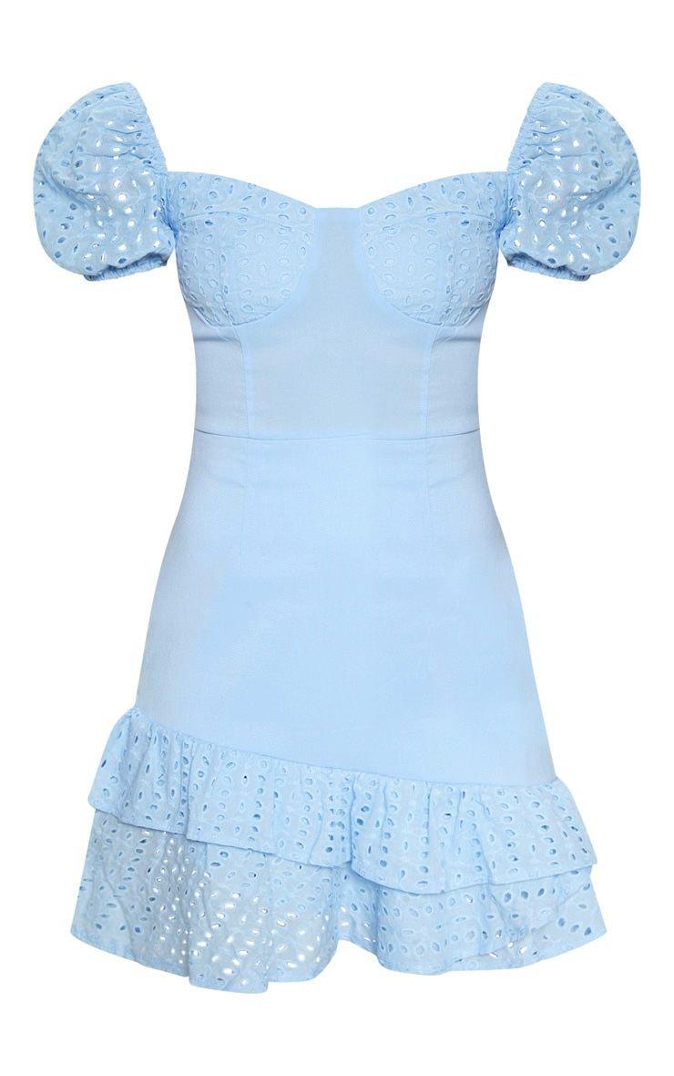 Dusty Blue Puff Sleeve Bodycon Dress | PrettyLittleThing
