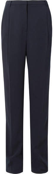 Sally LaPointe - Pleated Stretch-crepe Straight-leg Pants - Navy