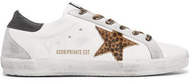 Superstar Leopard-print Calf Hair And Distressed Leather Sneakers - White