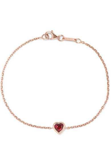 Anita Ko | Heart 18-karat rose gold ruby bracelet | NET-A-PORTER.COM