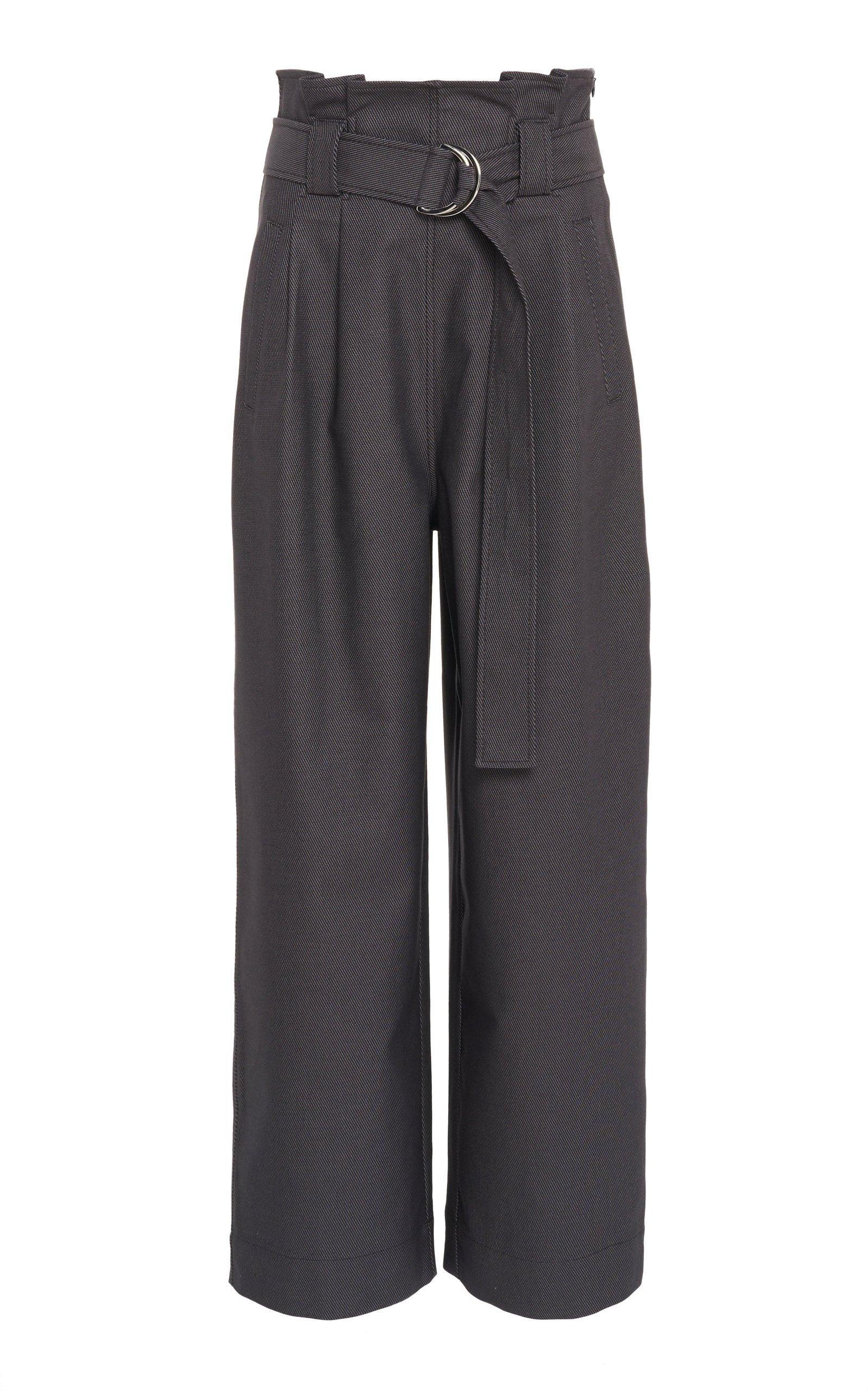 Ganni Belted Chino Wide-Leg Pants