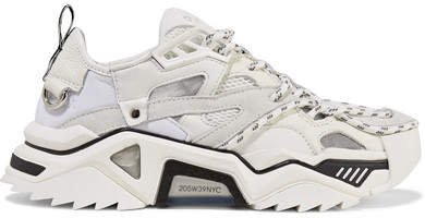 Leather, Suede And Mesh Sneakers - White