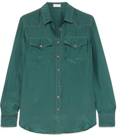 Washed-silk Shirt - Green