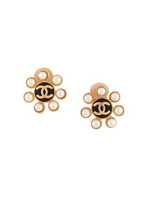 Chanel Vintage CC Logos Imitation Pearl Earrings - Farfetch