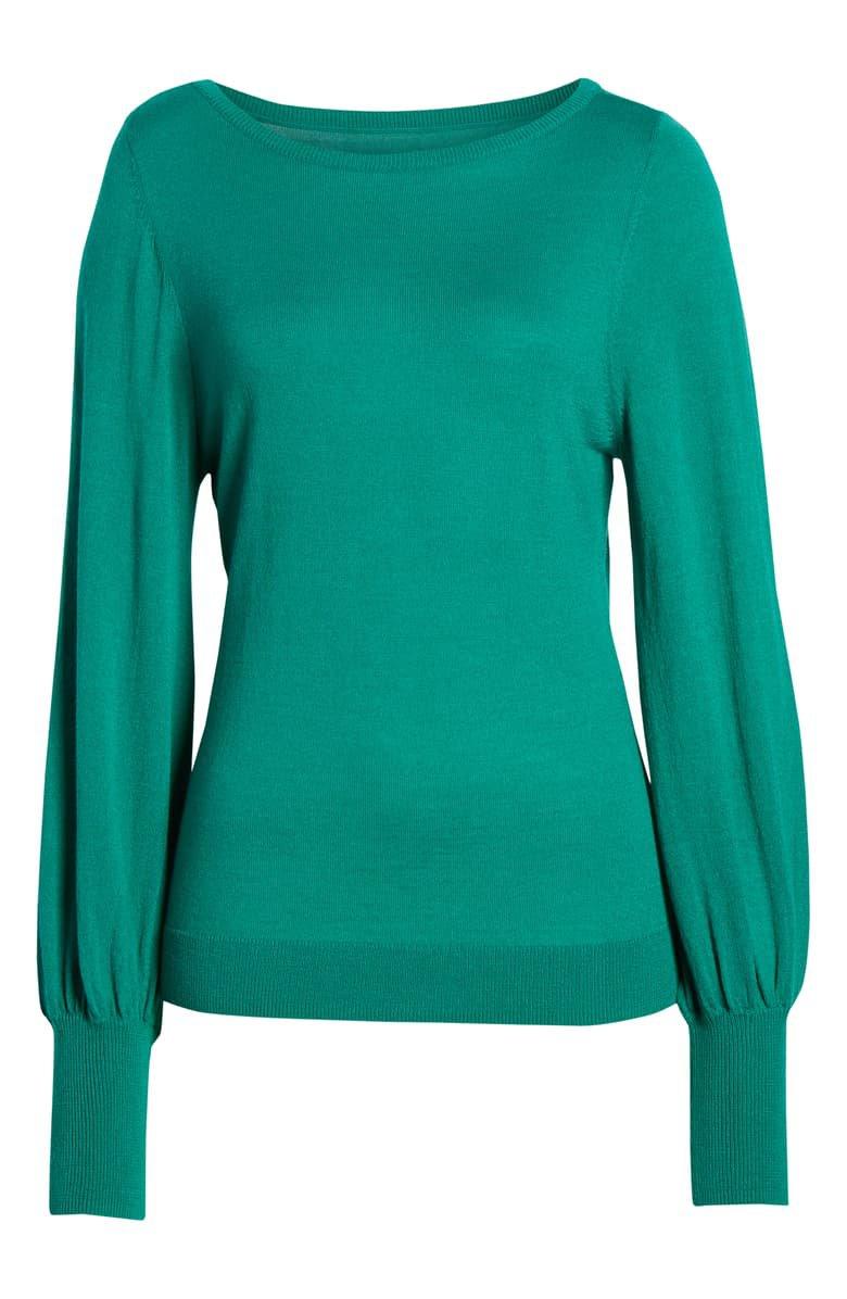 Halogen® Bishop Sleeve Merino Wool Blend Sweater | Nordstrom