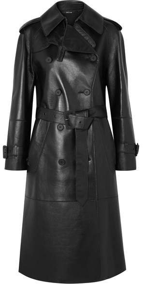 Leather Trench Coat - Black