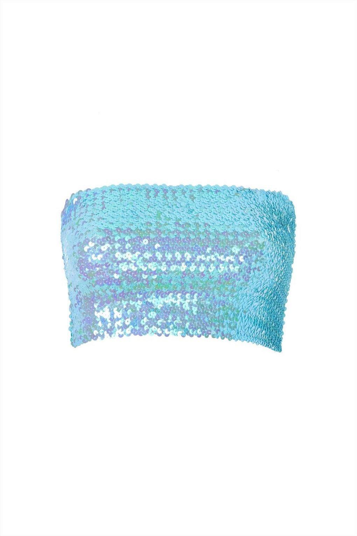 Topshop Blue Sequin Bandeau Top