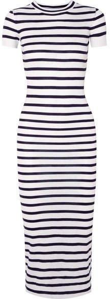 Striped Jersey Midi Dress - Navy