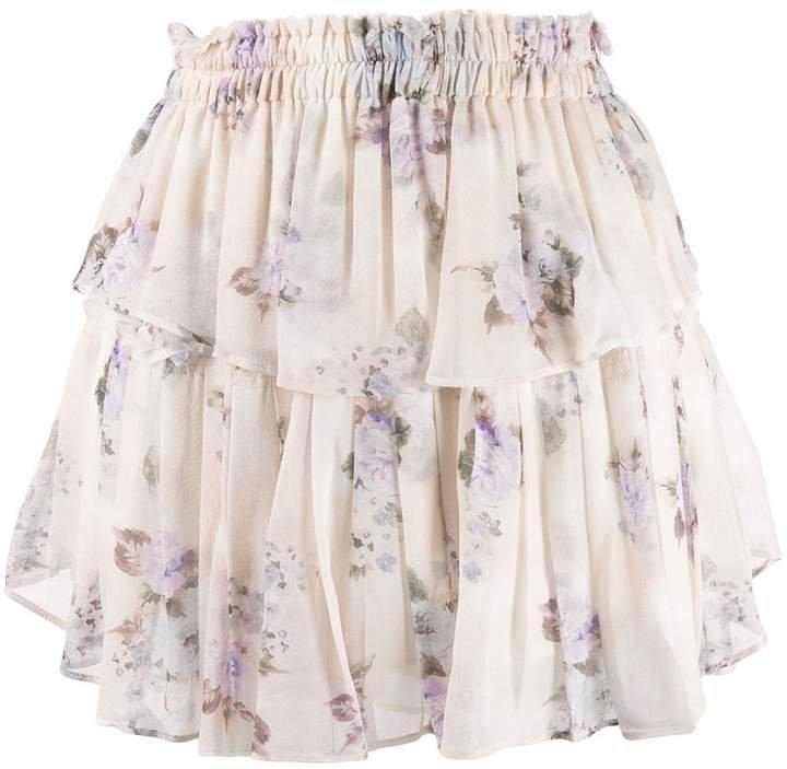 Love Shack Fancy tiered silk mini skirt