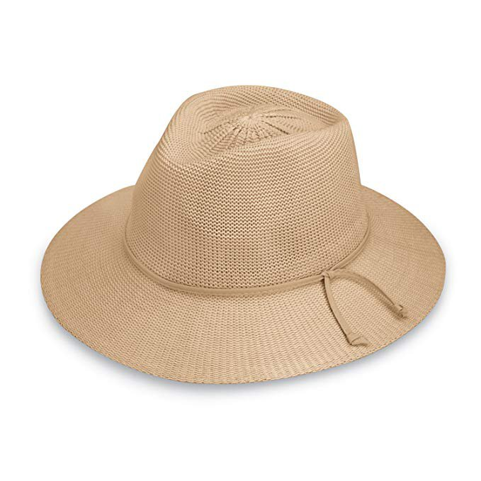 Wallaroo Hat Company Women's Victoria Fedora Sun Hat - 100% Poly-Straw - UPF50+ Tan at Amazon Women's Clothing store: