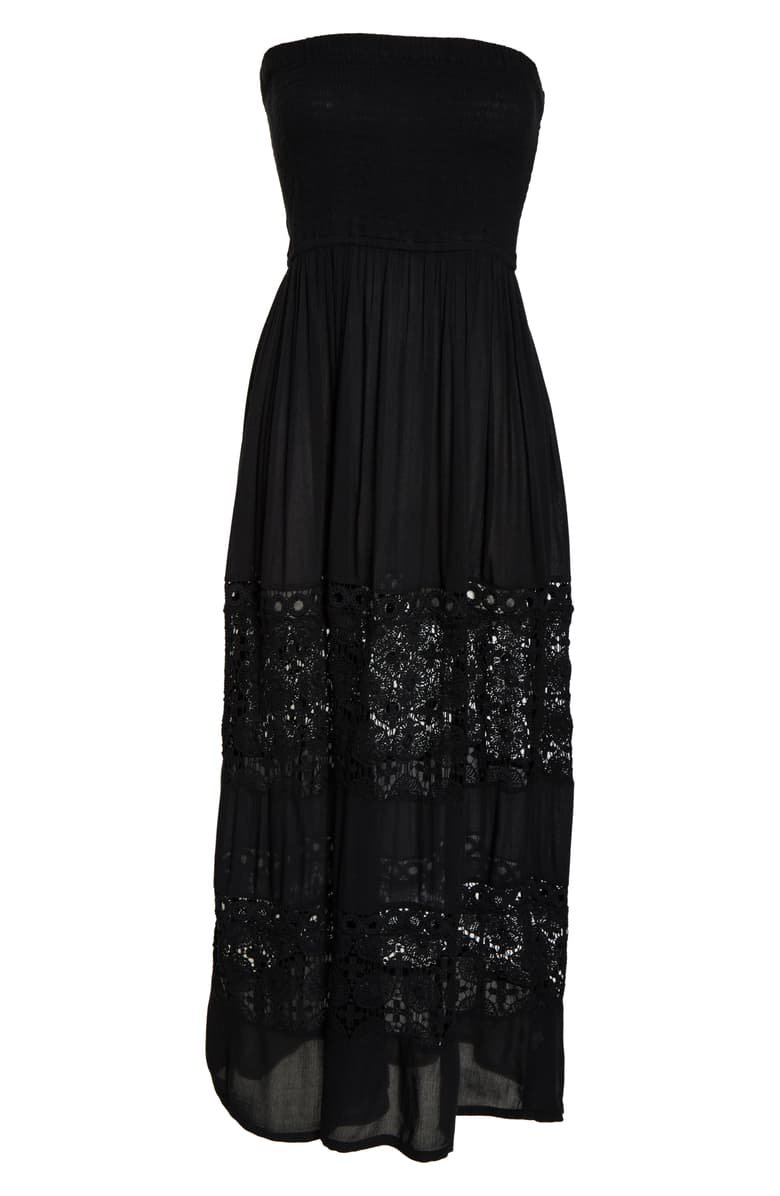 Chelsea28 Farrah Smocked Cover-Up Maxi Dress Black