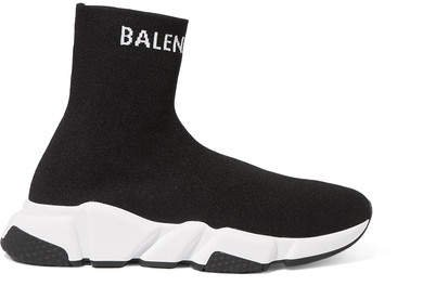 Speed Stretch-knit High-top Sneakers - Black