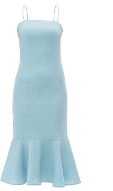 Lychee Fishtail Hem Linen Midi Dress - Womens - Light Blue