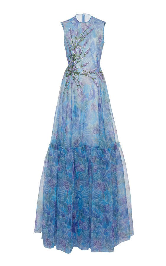 Floral-Patterned Tiered Organza Dress