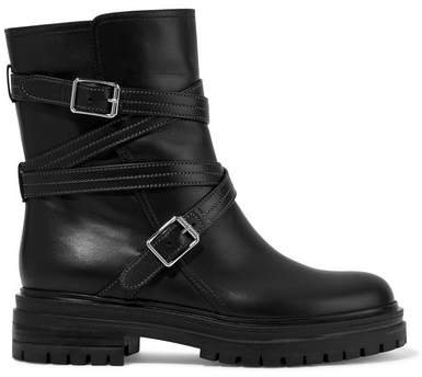 Buckled Leather Ankle Boots - Black