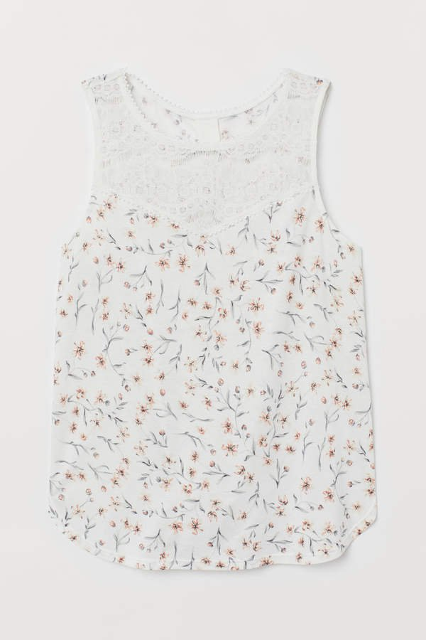 Sleeveless Jersey Top - White