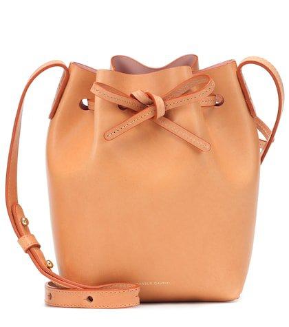 Micro leather bucket bag