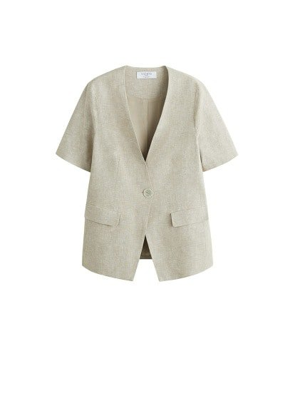 Violeta BY MANGO Button linen jacket