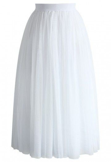 Ethereal Tulle Mesh Midi Skirt in White - Skirt