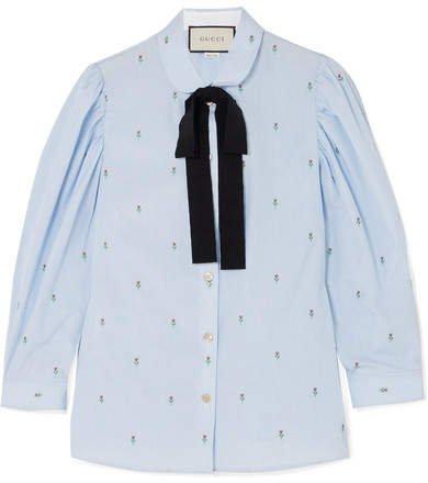Grosgrain-trimmed Fil Coupé Cotton Shirt - Light blue