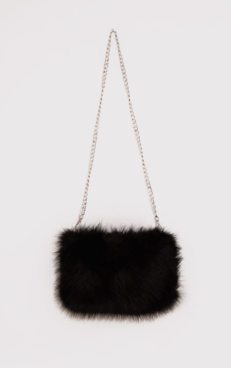 Christah Black Fur Chain Shoulder Bag | PrettyLittleThing