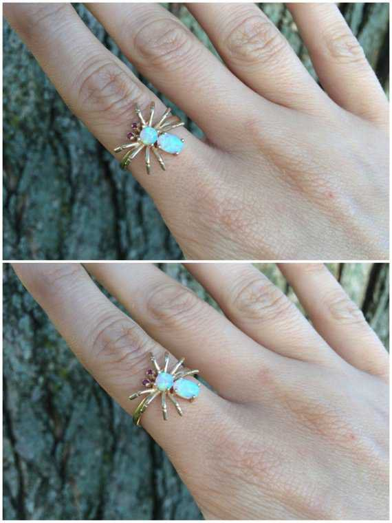 Opal Gold Spider Ring Size 7 Sizeable Unique October