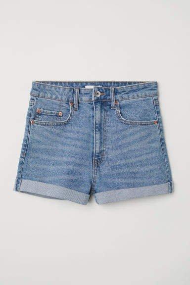 Denim Shorts High Waist - Blue