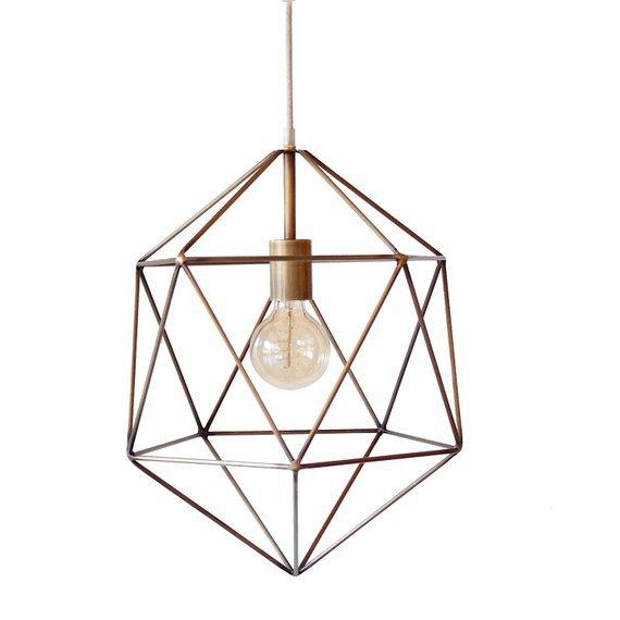 Bronze Geometric Pendant Light Handmade Hanging Light Cage | Etsy