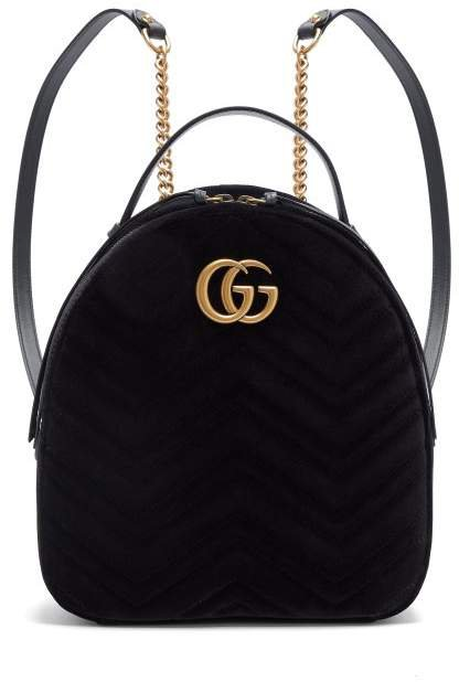 Gg Marmont Velvet Backpack - Womens - Black