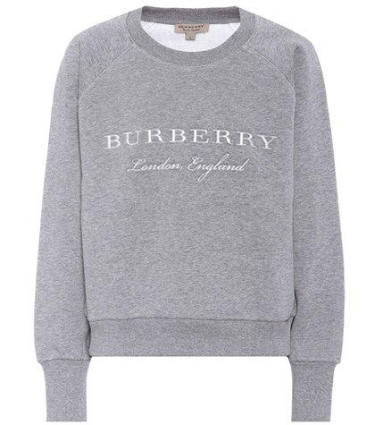 Embroidered cotton-blend sweatshirt