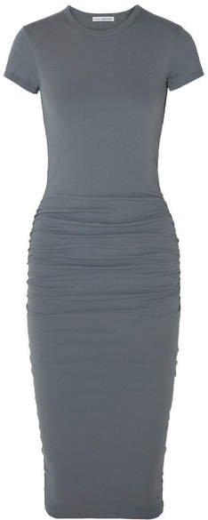 Draped Stretch-cotton Jersey Midi Dress - Gray
