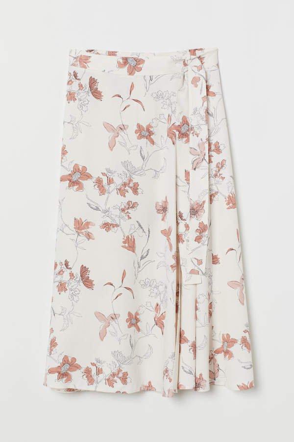 Patterned Wrap-front Skirt - Beige
