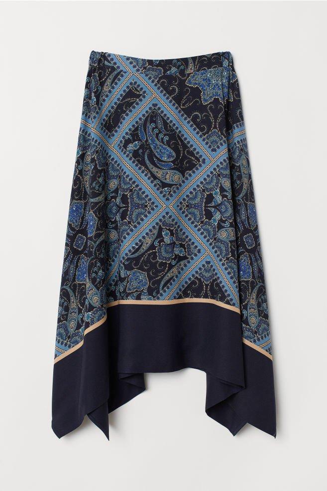 Asymmetric Skirt - Dark blue/patterned - Ladies | H&M US