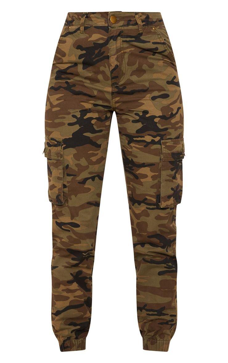 Khaki Camo Cargo Pocket Jeans   Denim   PrettyLittleThing USA