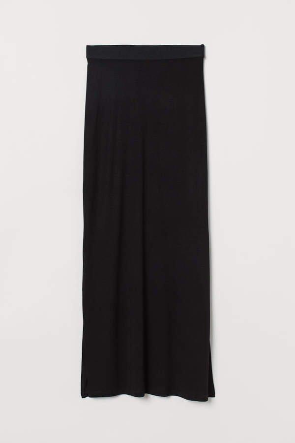 Long Jersey Skirt - Black