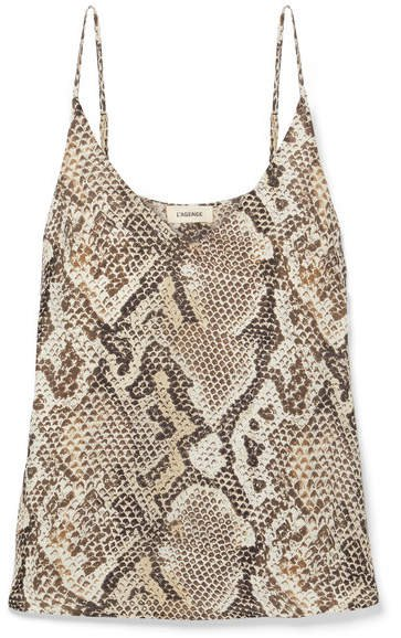 Gabriella Snake-print Silk Crepe De Chine Camisole - Brown