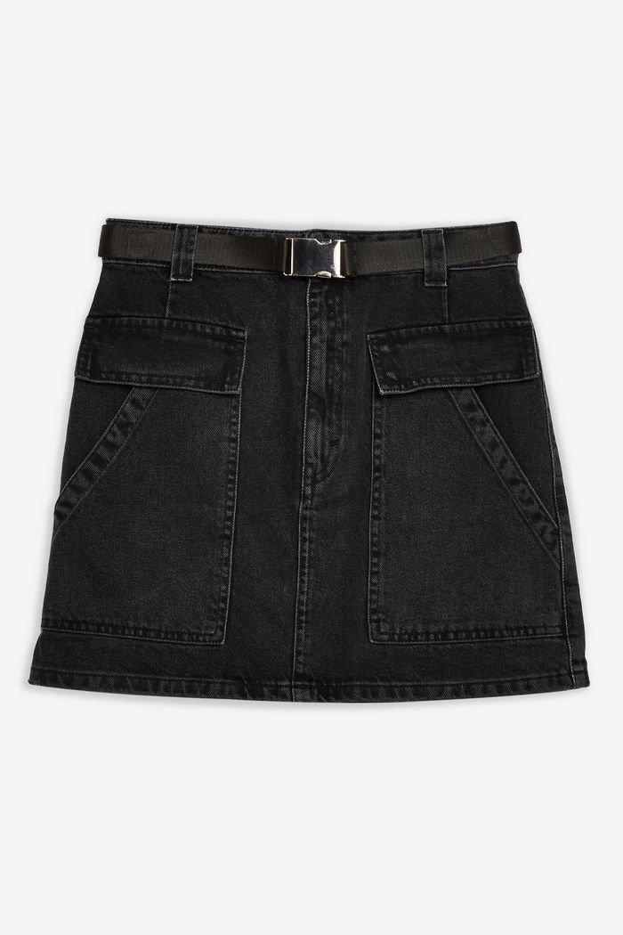 Black Clip Buckle Denim Mini Skirt | Topshop